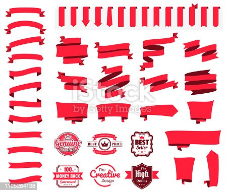 Set of red ribbons, banners, badges and labels, isolated on a blank background. Elements for your design, with space for your text. Vector Illustration (EPS10, well layered and grouped). Easy to edit, manipulate, resize or colorize. Please do not hesitate to contact me if you have any questions, or need to customise the illustration. http://www.istockphoto.com/portfolio/bgblue