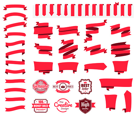 Set of Red Ribbons, Banners, badges, Labels - Design Elements on white background