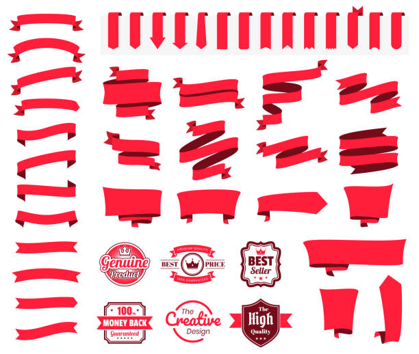 set of red ribbons, banners, badges, labels - design elements on white background - ribbon sewing item stock illustrations