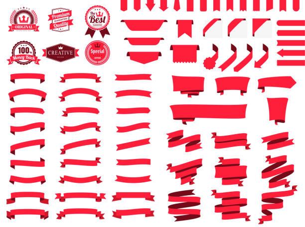 Set of Red Ribbons, Banners, badges, Labels - Design Elements on white background vector art illustration