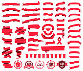 Set of red ribbons, banners, badges and labels, isolated on a blank background. Elements for your design, with space for your text. Vector Illustration (EPS10, well layered and grouped). Easy to edit, manipulate, resize or colorize.