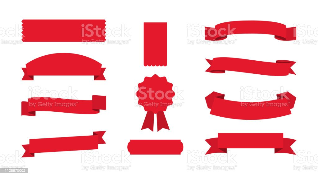 Set of red Ribbons Banners on empty background royalty-free set of red ribbons banners on empty background stock illustration - download image now