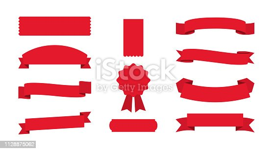 Set of red Ribbons Banners on empty background. Eps10
