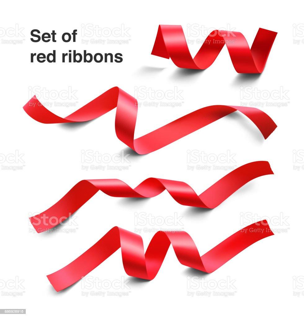 Set of red ribbons on white background. vector art illustration