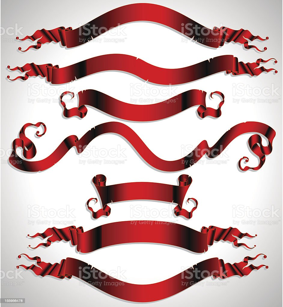 set of red ribbons royalty-free stock vector art
