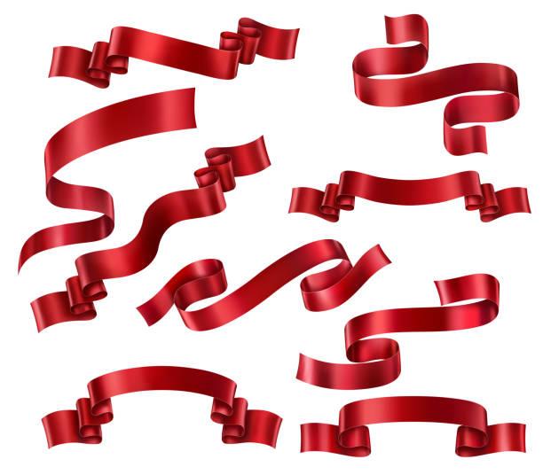bildbanksillustrationer, clip art samt tecknat material och ikoner med uppsättning av röda band - red silk