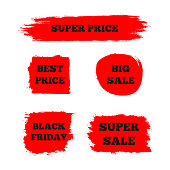 """Set of red signs with the text """"Best Price"""", """"Super Sale"""", """"Big Sale"""", """"Black Friday"""". Painted brush. Grunge."""