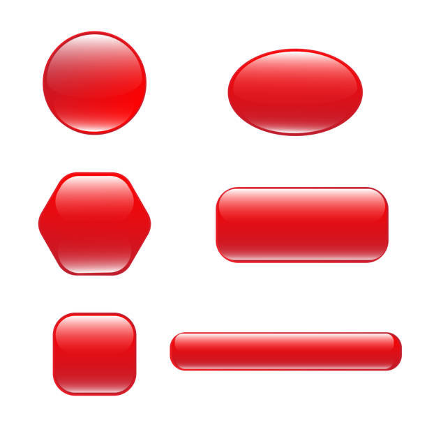 Set of red square and rounded button Set of red square and rounded button. Vector button banner round, badge interface with glare for application. Illustration on white background commercial event stock illustrations