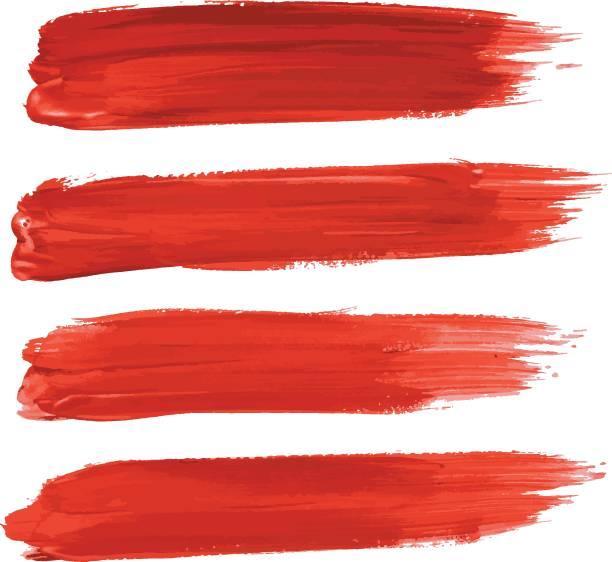 zestaw czerwonych pędzli obrysowych wyizolowanych na białym - farba stock illustrations
