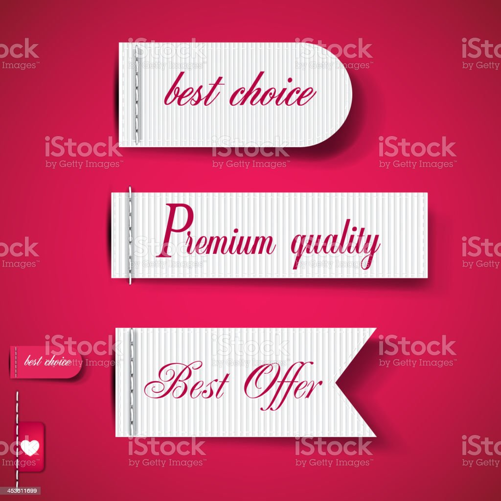 Set of Red Superior Quality and Satisfaction Guarantee Ribbons, royalty-free set of red superior quality and satisfaction guarantee ribbons stock vector art & more images of award ribbon