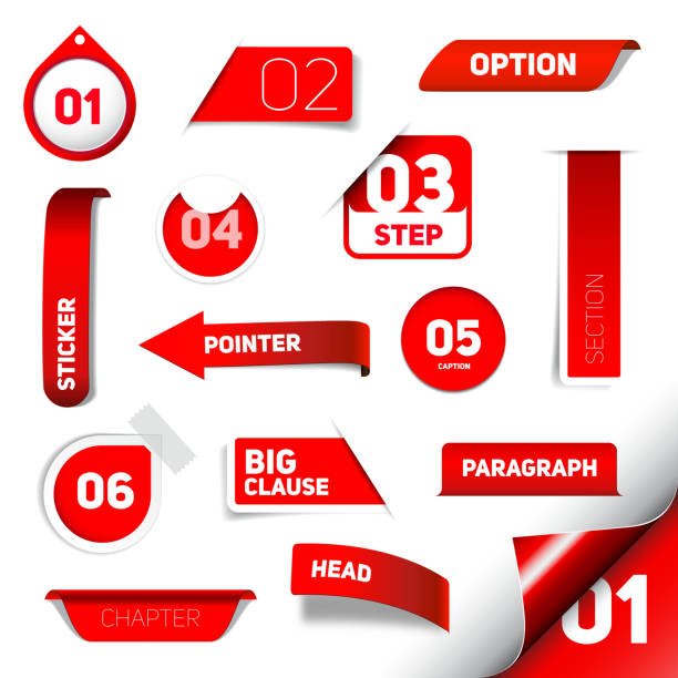 Set of red vector progress step icons Set of red vector progress step icons, version, labels, stamps, stickers, corners, tags - vector label stock illustrations