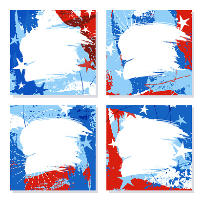 Set of red, white and blue patriotic design templates with space for text or photo. Square format for social media, cards, posters