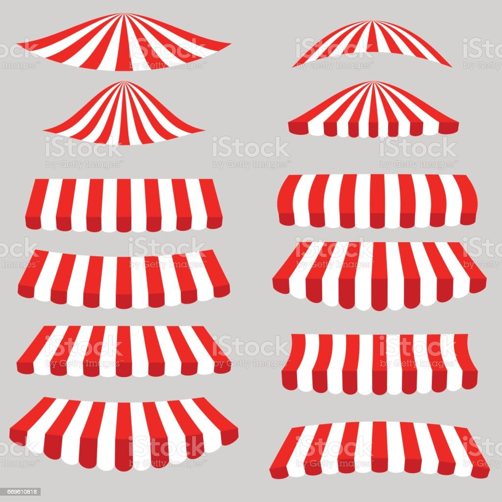 Set of Red White Tents vector art illustration
