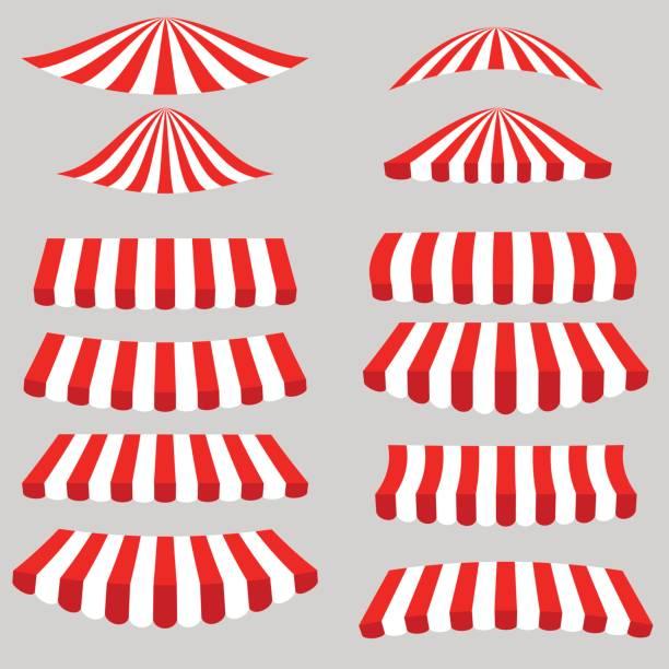 set of red white tents - dachzelt stock-grafiken, -clipart, -cartoons und -symbole