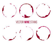 Set of red wine stains isolated on white background. Vector design elements.