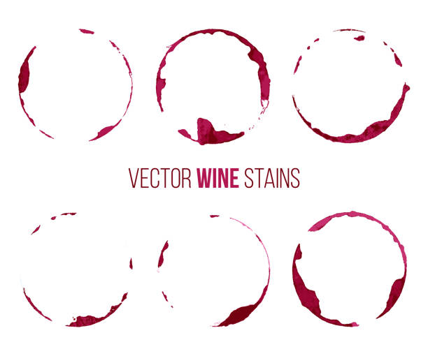 Set of red wine stains isolated on white background. Vector design elements. Set of red wine stains isolated on white background. Vector design elements. wine stock illustrations