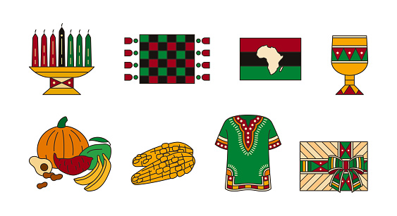 Set of red-and-green icons for celebration of Kwanzaa. Festival of african-american unity - colorful traditional symbols