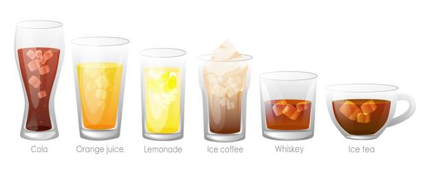 Set of refreshing tasty drinks with ice. Set of refreshing tasty drinks with ice. Summer drinks are alcoholic. Juice, cola, whiskey tea, with ice. drawing of a glass liquor flask stock illustrations
