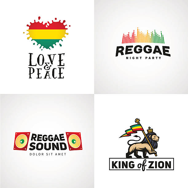 Set of reggae music vector design. Love and peace concept Set of reggae music vector design. Love and peace concept. Judah lion with a rastafari flag. King of Zion logo illustration rastafarian stock illustrations