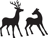 Vector illustration of two reindeer looking at each other.
