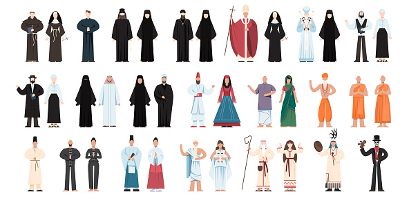 Set of religion people wearing specific uniform. Male and female religious figure collection.