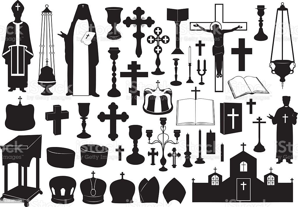Set of religious elements vector art illustration