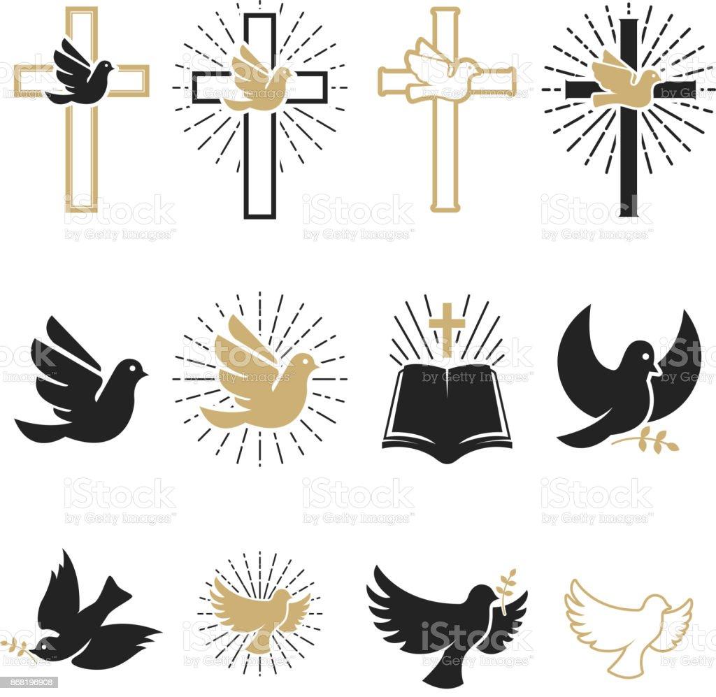 一套宗教標誌。十字架與鴿子, 聖靈, 聖經。 - 免版稅傳教士 - 神職者圖庫向量圖形
