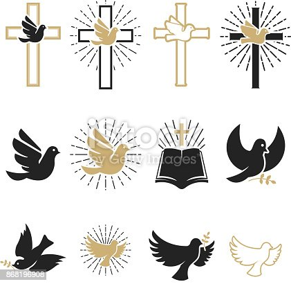 istock Set of religious signs. Cross with dove, holy spirit, bible. 868196908