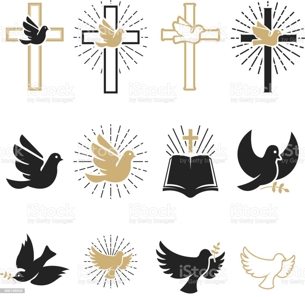 Set of religious signs. Cross with dove, holy spirit, bible. vector art illustration