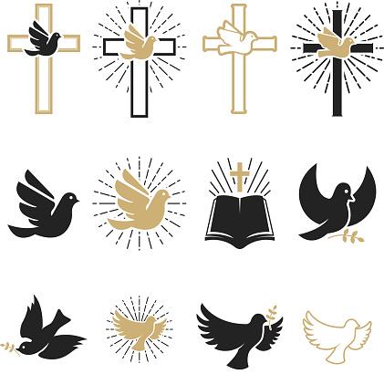 一套宗教標誌十字架與鴿子 聖靈 聖經向量圖形及更多傳教士 - 神職者圖片