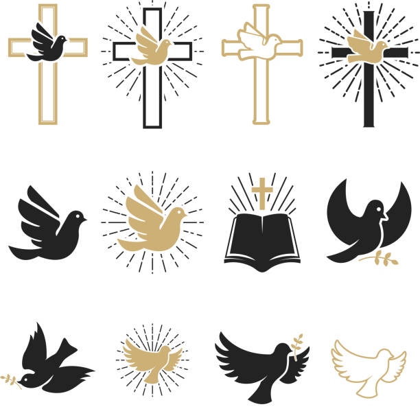 Set of religious signs. Cross with dove, holy spirit, bible. Set of religious signs. Cross with dove, holy spirit, bible. Design elements for emblem, sign, badge. Vector illustration bird symbols stock illustrations