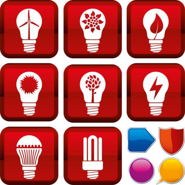 bildbanksillustrationer, clip art samt tecknat material och ikoner med uppsättning av förnybar energi ikoner på fyrkantiga knappar. geometrisk stil. - changing bulb led
