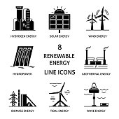 Collection of renewable energy silhouette icons. Different types of ecological electricity sources in flat style symbols.