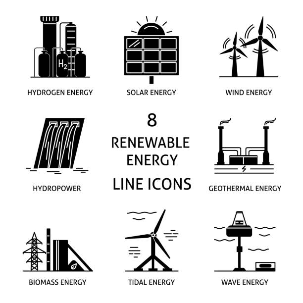 stockillustraties, clipart, cartoons en iconen met set van hernieuwbare energie silhouet pictogrammen - waterstof