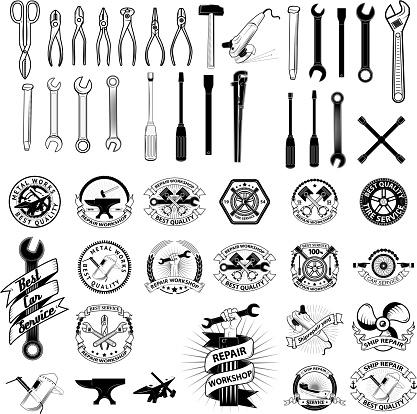 Set Of Repair Service Workshop Labels And Design Elements