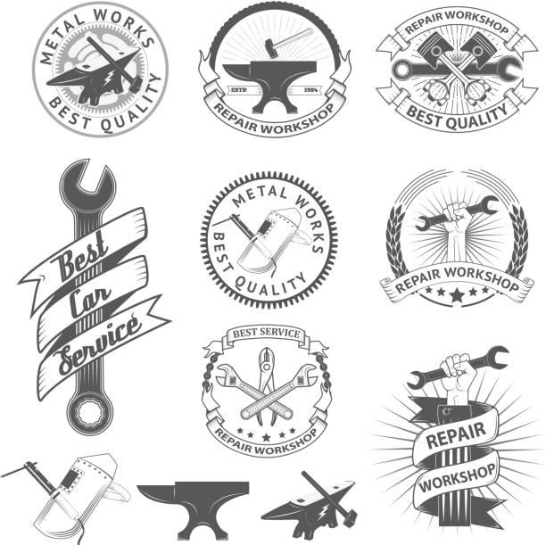 Set of repair, workshop labels and emblems. vector art illustration