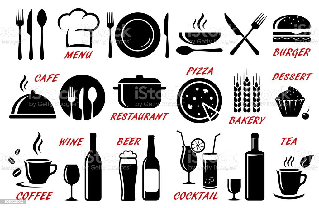 set of restaurant, cafe icons silhouettes royalty-free set of restaurant cafe icons silhouettes stock illustration - download image now