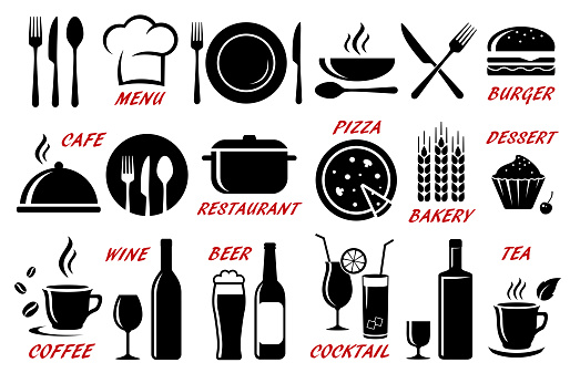set of restaurant, cafe icons silhouettes clipart