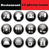 Set of restaurant glossy icons