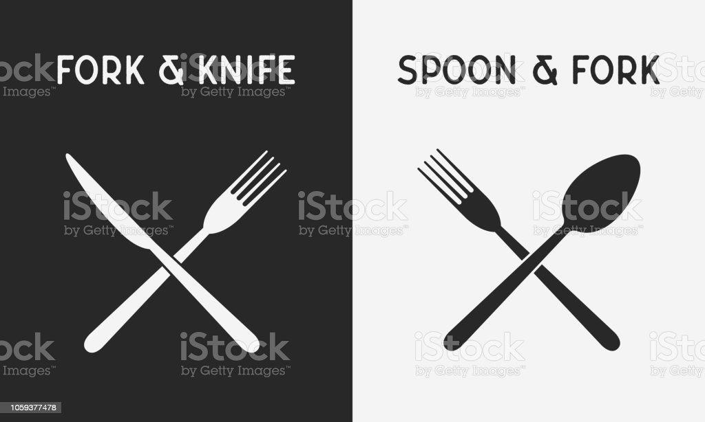 Ensemble d'icônes de couteaux restaurant. Silhouette de fourchette et couteau, cuillère et une fourchette. Concevoir des éléments pour le logo du restaurant, menu. Illustration vectorielle - Illustration vectorielle