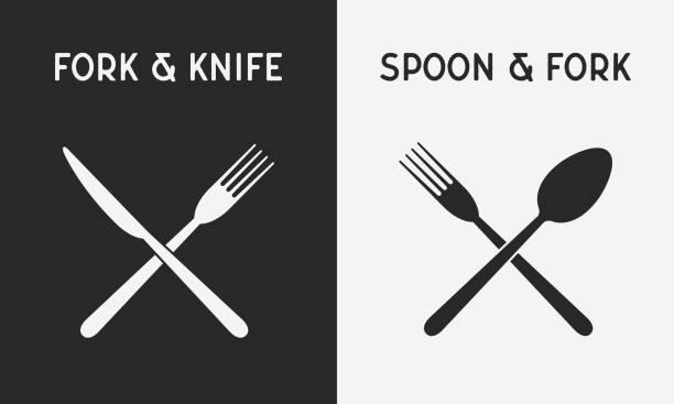 illustrations, cliparts, dessins animés et icônes de ensemble d'icônes de couteaux restaurant. silhouette de fourchette et couteau, cuillère et une fourchette. concevoir des éléments pour le logo du restaurant, menu. illustration vectorielle - logos restauration