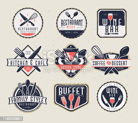 Vector illustration of a set of Restaurant menu and bar labels with unique shapes and text designs as well as utensils and drinkware. Includes Restaurant Menu, Wine Bar, Kitchen & Cafe, Cocktail Lounge, Coffee & Dessert, Family Style Restaurant and buffet text designs as well as fork,spoon,knife,whisk,coffee cup, wine glass and cocktail glass. Unique and retro set of badges. Fully editable EPS 10.
