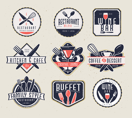Set of Restaurant menu and bar labels with unique shapes and text designs as well as utensils and drinkware