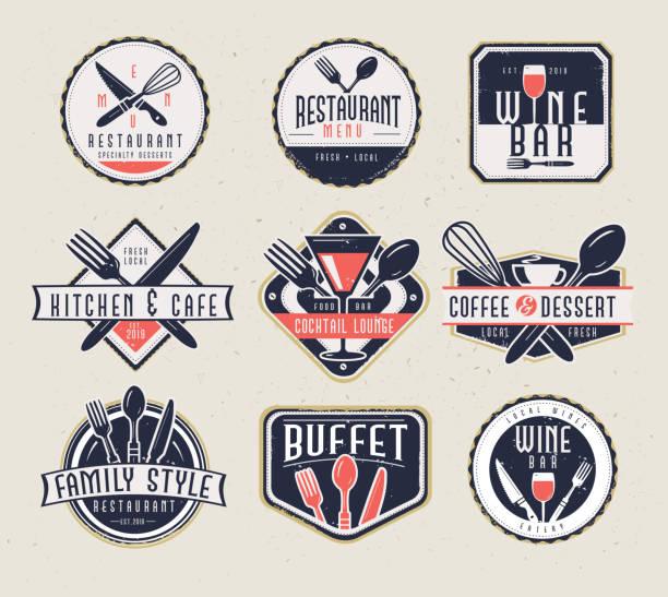 zestaw menu restauracji i etykiety barowe z unikalnymi kształtami i wzorami tekstu, a także przybory kuchenne i napoje - bar lokal gastronomiczny stock illustrations