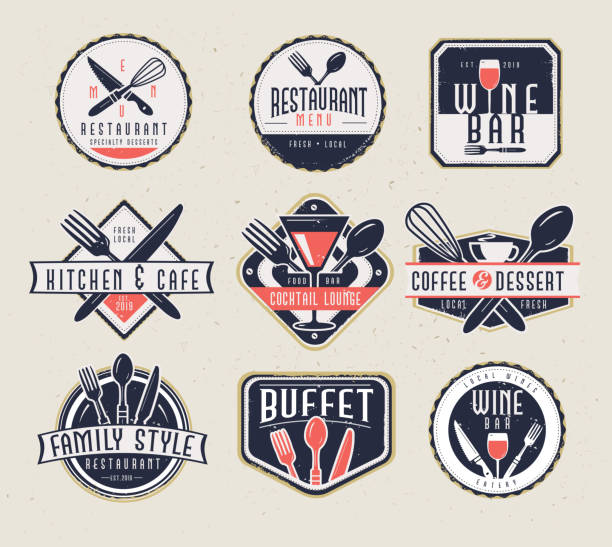 set of restaurant menu and bar labels with unique shapes and text designs as well as utensils and drinkware - ресторан stock illustrations