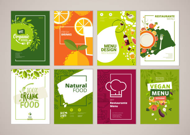 set of restaurant menu, brochure, flyer design templates in a4 size - fruit icon stock illustrations, clip art, cartoons, & icons