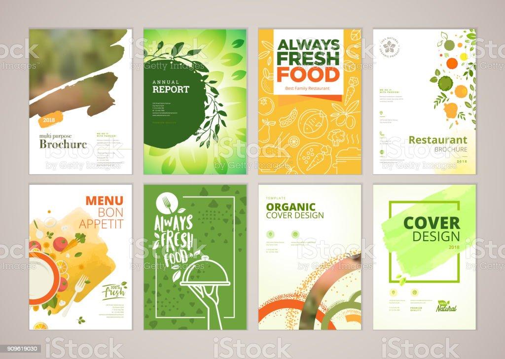 Set of restaurant menu, brochure, flyer design templates in A4 size