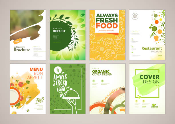 illustrazioni stock, clip art, cartoni animati e icone di tendenza di set of restaurant menu, brochure, flyer design templates in a4 size - food