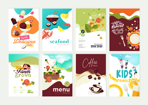 Set of restaurant menu, brochure, flyer design templates