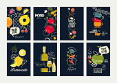 Vector illustrations for food and drink marketing material, natural products presentation, cover design, wine list and cocktail menu templates